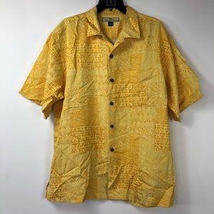 Tommy Bahama bright yellow tiki button down shirt.